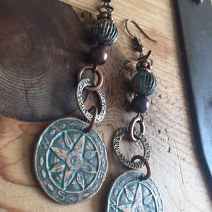 rustic upcycled oxidized//patina earrings